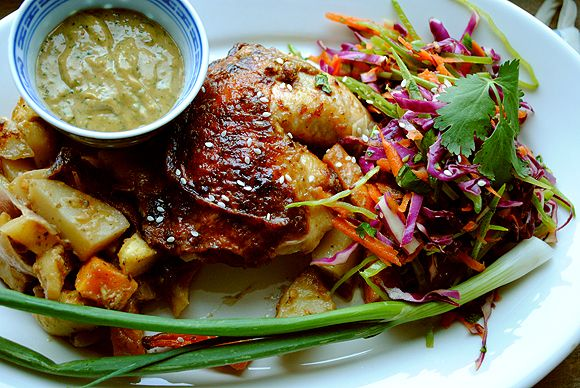 Peanut Butter Roast Chicken with Red Cabbage and Snow Pea Salad