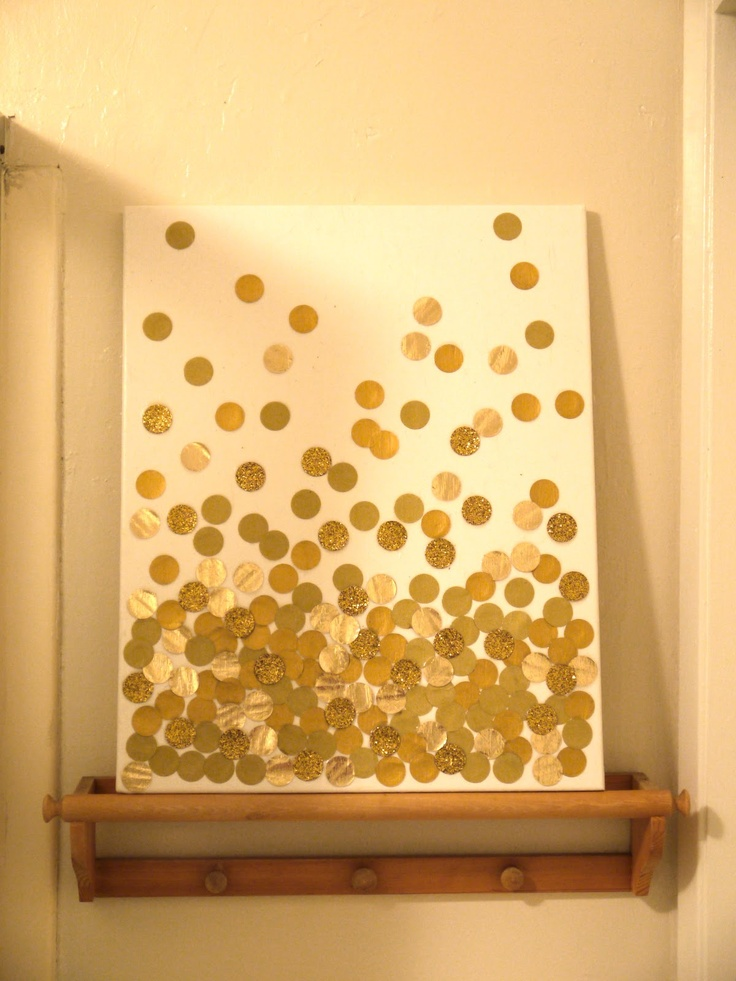 Diy Glitter Dots On Canvas Wall Art Would Be Cute In Pink Gray And Yellow