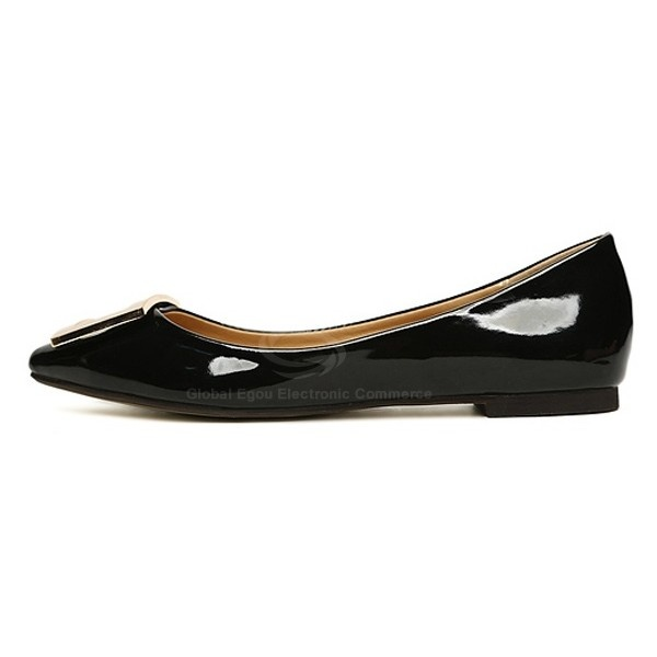 Casual Shining Metal Embellished Patent Leather Flat Shoes For Women