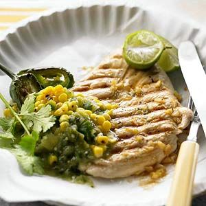 Lime-Marinated Chicken and Tomatillo-Corn Salsa   Recipe