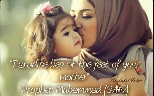 a paradise lies under the feet of mother Paradise lies under the feet of your mother  his holiness came to see her and after kissing her mother's feet, he saw tears.