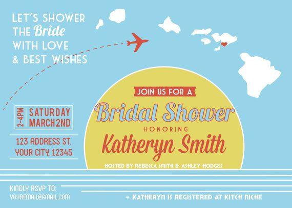 Bridal Shower Hawaiian Invitation-Printable PDF-Destination wedding or ...