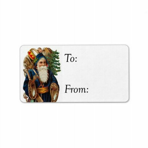 Vintage Santa In Blue With Toys Gift Tag Personalized Address Label