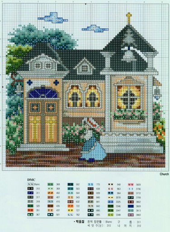 Схемы вышивки цветные домики 95