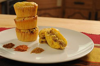 Stuffed Cornbread Muffins #recipe with sausage and cheese. For more ...