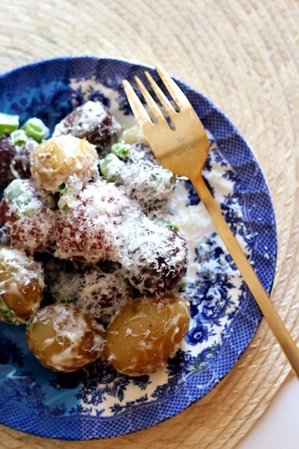 "tri color potato salad w ""truffle oil"" 