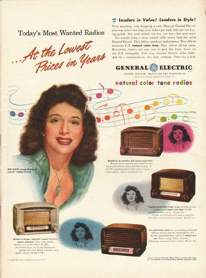 "1948 General Electric Radio Ad ""Most Wanted Radios"""