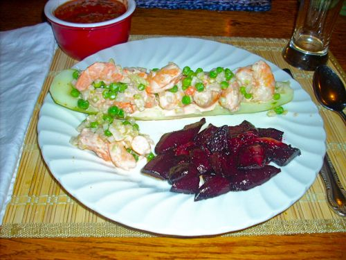 Shrimp Salad in Cucumber Boats | Not Your Average Salad | Pinterest