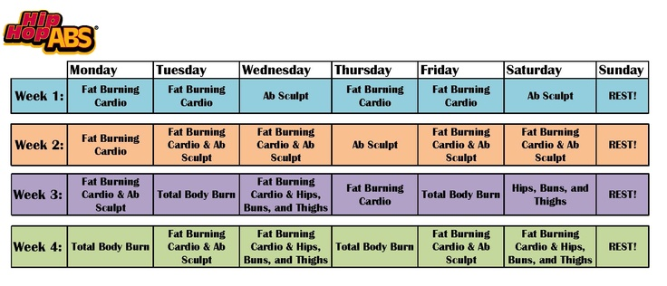 Hip Hop Abs Calendar 4 weeks >> Just got this workout. Hoping to make ...