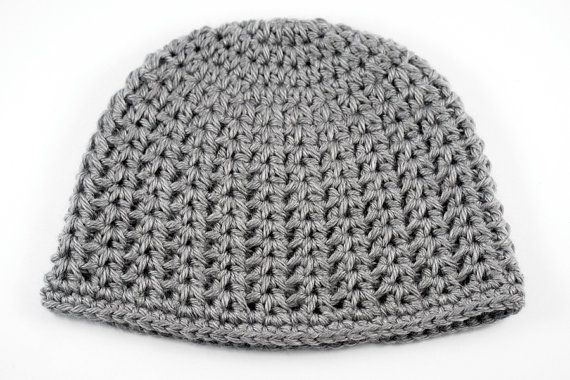 ... Lacy V-Stitch Crochet Baby Hat // Heather Gray Baby Beanie // 6