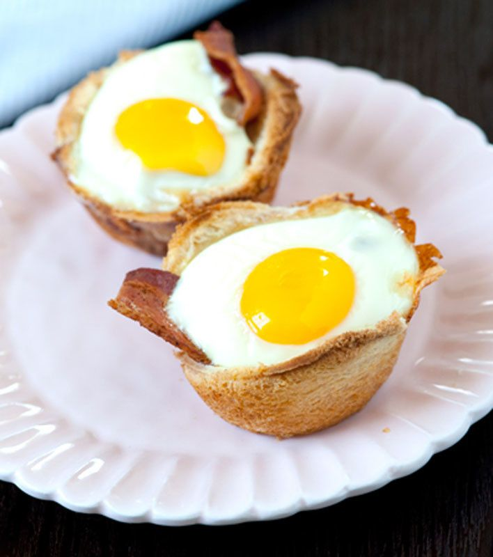 Bacon, Egg and Toast Cups | cooking breakfast | Pinterest