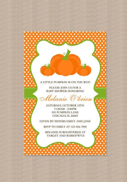 pumpkin baby shower invitation by honeyprint on etsy