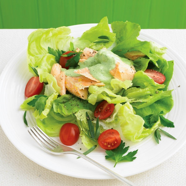 Butter-Lettuce Salad with Poached Salmon and Herbs Recipe | Food ...