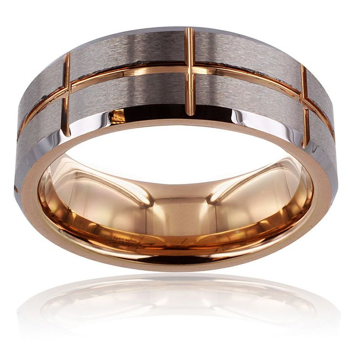 Men 39 S Tungsten Carbide Brushed Center Rose Gold Cross Grooved Ring 8