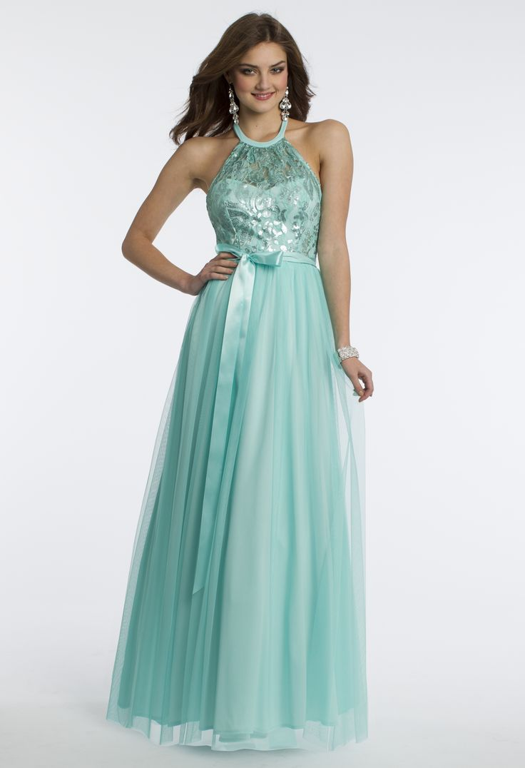 Camille La Vie Satin and Illusion Ball Gown with Ribbon Band Prom Dress