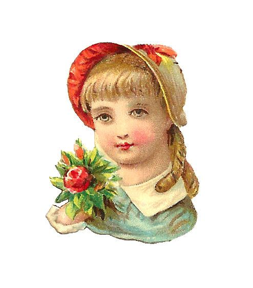 Girl with Bonnet and Rose Bouquet