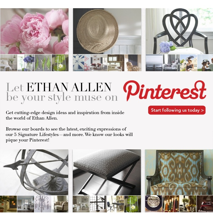 Ethan Allen | SL: Let us be your style muse on Pinterest!    #email #emailmarketing
