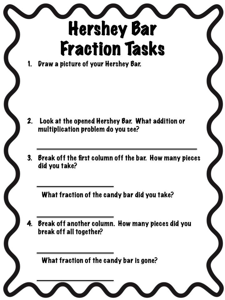 Teaching Third - Hershey Bar Fractions   for the 3rd grade munchkins ...