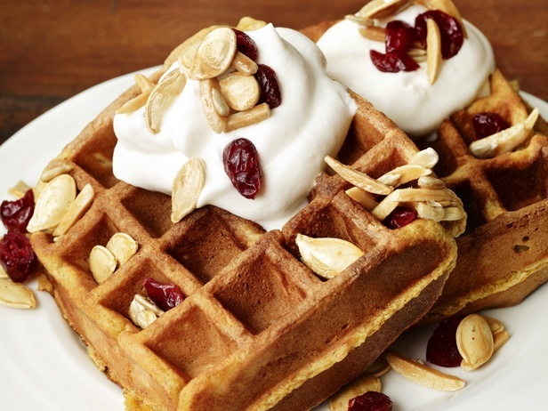 Pumpkin Waffles With Trail-Mix Topping-Food Network