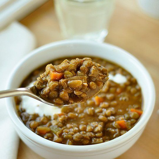 Lentil Soup with Lemon Yogurt Cream Weeknight meal. Warm and hearty ...