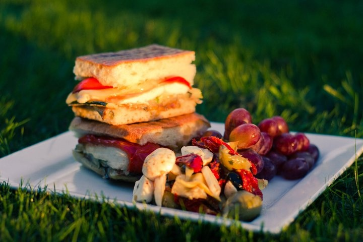 provolone Cheese, roasted red peppers, grilled eggplant and red onions ...