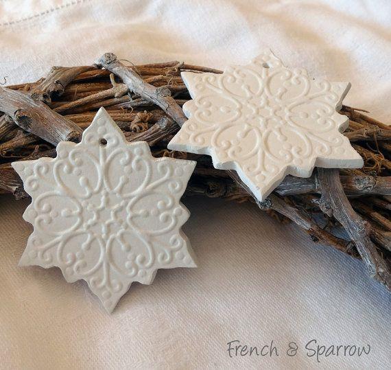 Snowflake Clay Tags