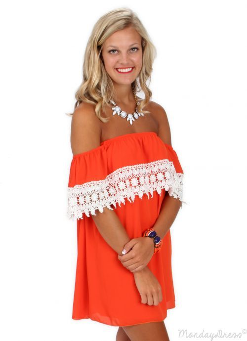 Girls of Fall Orange and Ivory Crochet Dress