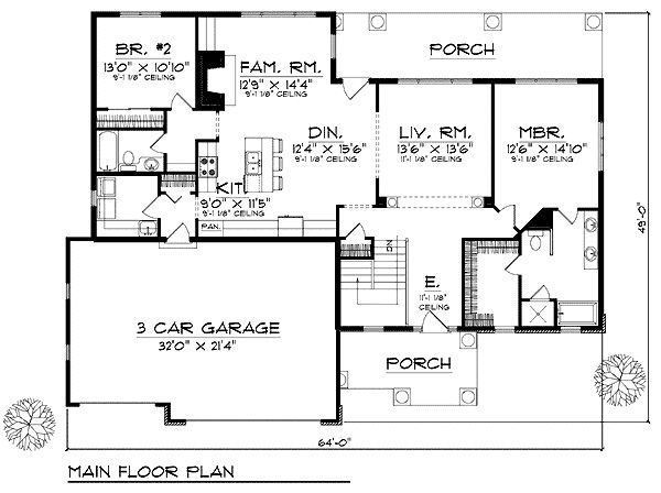 European traditional house plan 73233 for Non traditional house plans