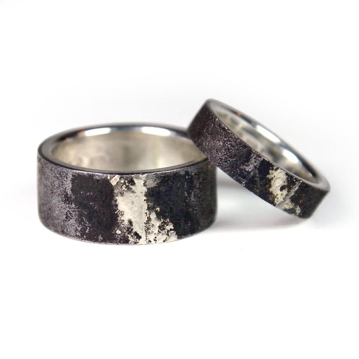 iron and silver wedding ring with white golden soldering