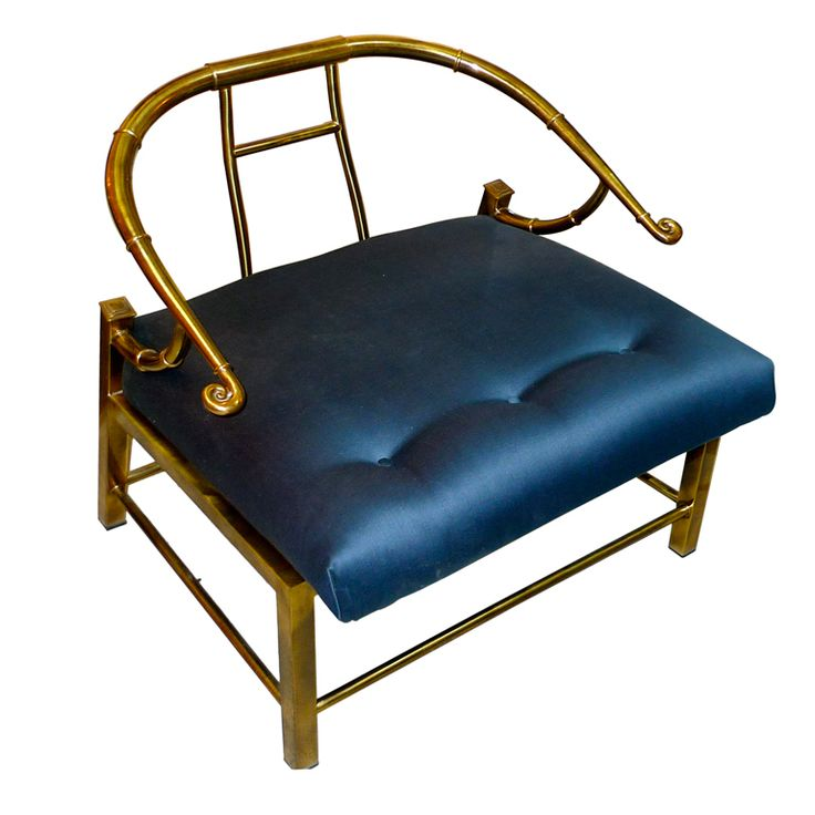 Mastercraft Brass Horseshoe Lounge Chair in blue silk, 1960's