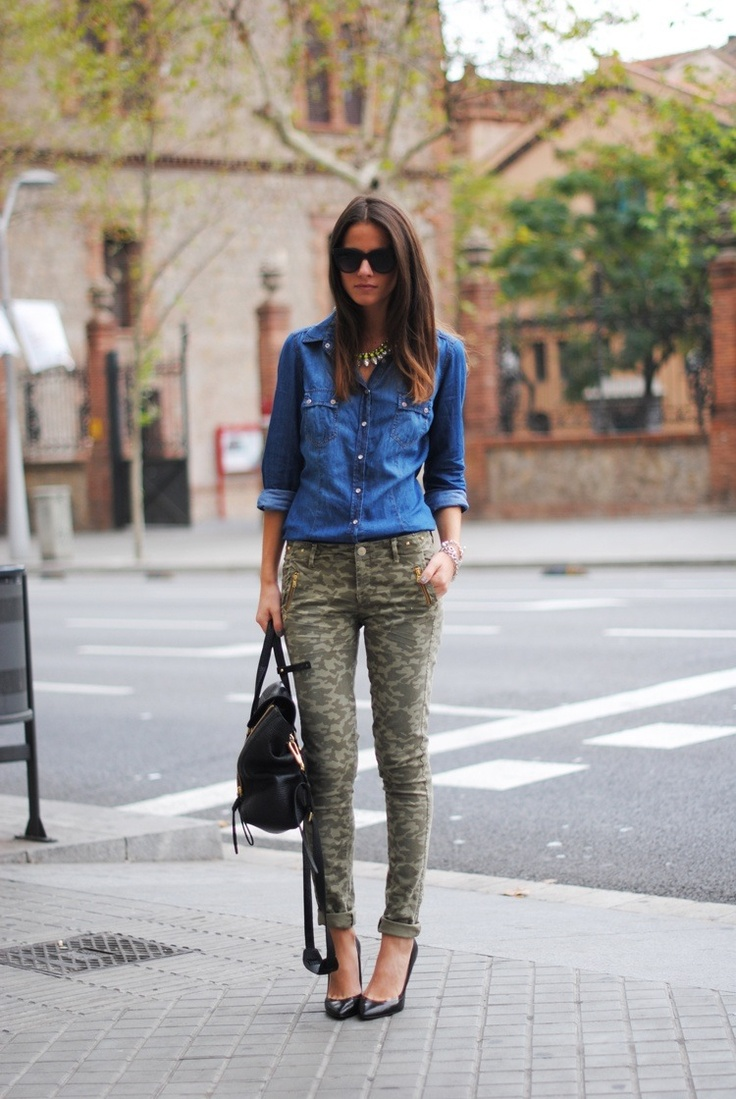 Denim shirt and camo pants outfit   My Style   Pinterest