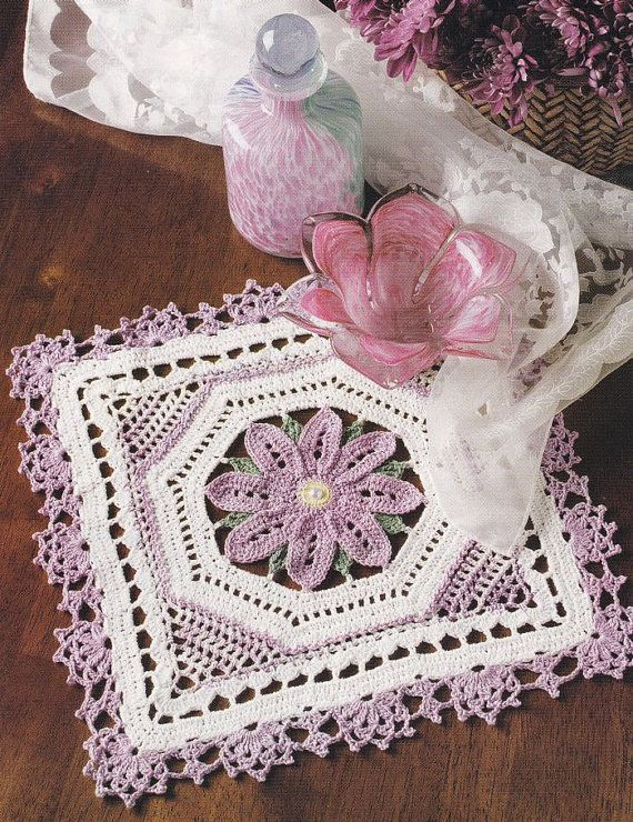Crochet Flower Doily Patterns : Floral Square Doily Crochet Pattern