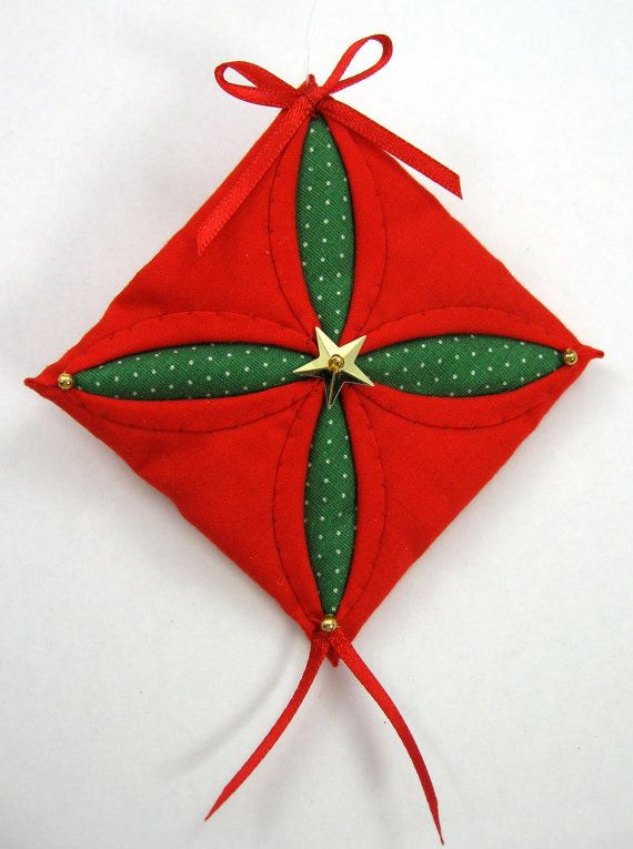 Quilted Christmas Ornament - Red and Green Cathedral Window 603