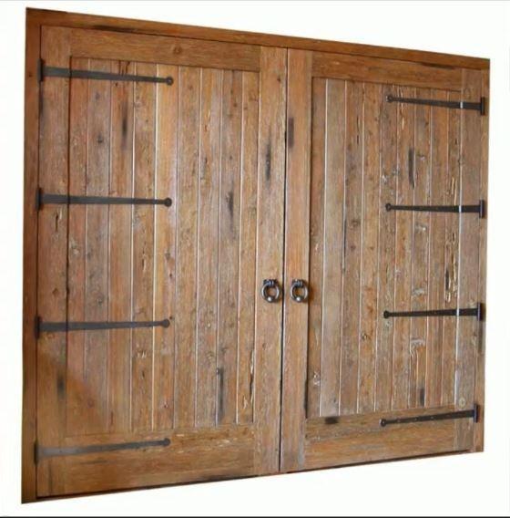 Wood barn door with strap hinges interior barn doors for Wood interior barn doors