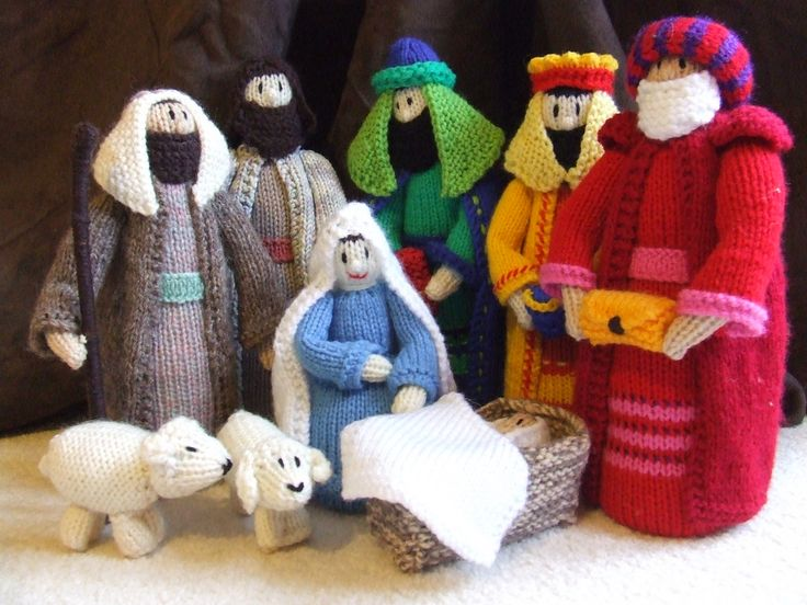 Free Knitting Patterns Christmas Crib : Knitted nativity scene Christmas Pinterest