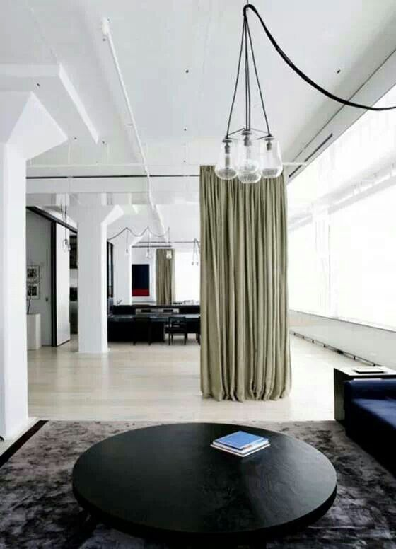 Curtain room divider, love the curtain design and look.