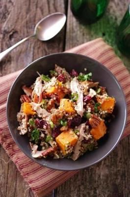 ... Quinoa and Turkey Salad with pecans, cooked butternut squash, dried