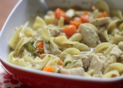 """vegan """"chicken"""" noodle soup from http://daintysquid.blogspot.com/20..."""