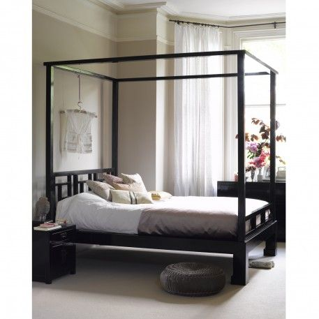 Black Lacquer Four Poster Bed Superking Bedroom Pinterest
