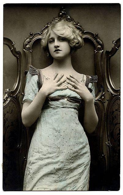 vintage postcard woman victorian