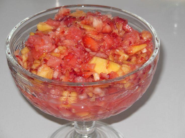 Strawberry, Peach, Watermelon Salsa! Recipe on the blog!
