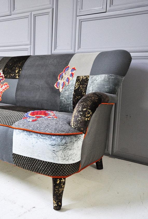 Gray Brown Patchwork Sofa Patchwork Pinterest