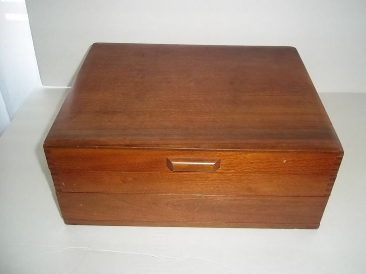 Vintage maple silverware flatware storage chest box for Box for flatware storage