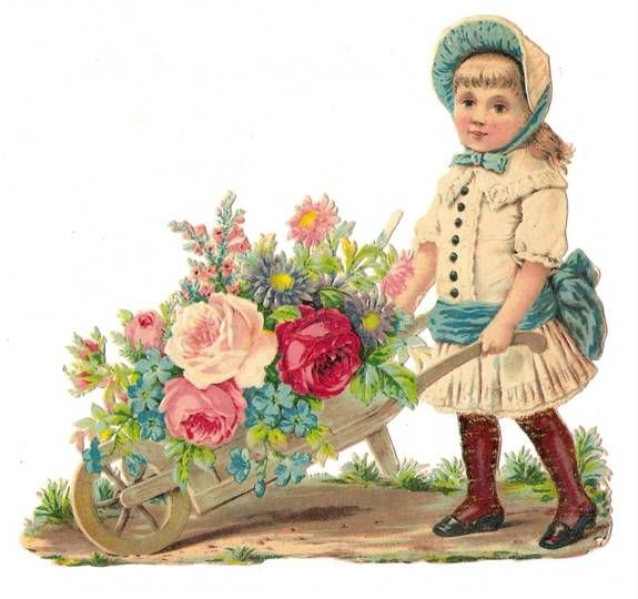 Victorian Flower Girl Die Cut Embossed Scrap