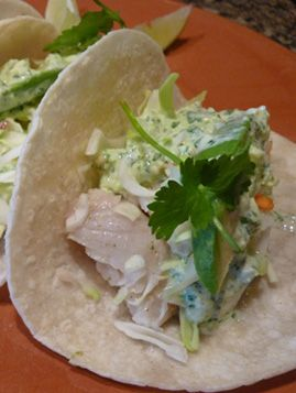... Tacos With A Creamy Tomatillo Sauce, make with wmeal pita instead. Yum