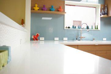 backsplash modern kitchen with painted tempered glass backsplash