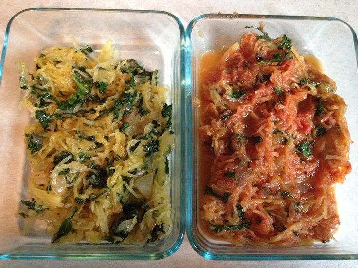 Squash 2 ways: Spaghetti squash and kale plain, or in tomato sauce ...