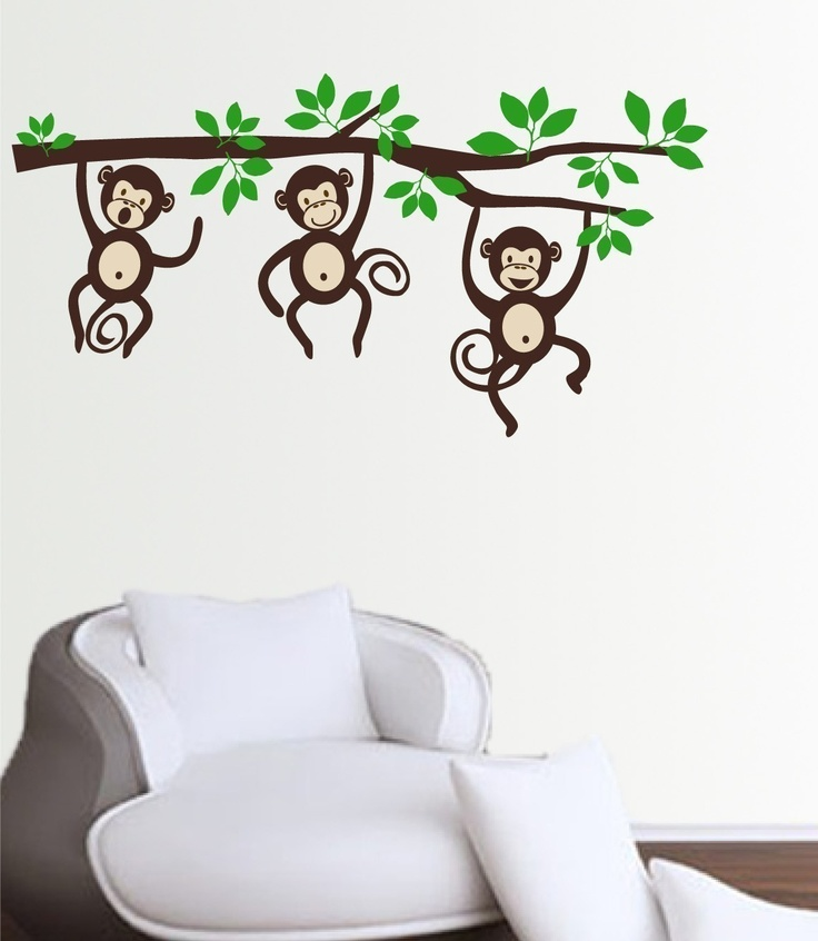 monkeys on a branch wall decal sticker medium via etsy