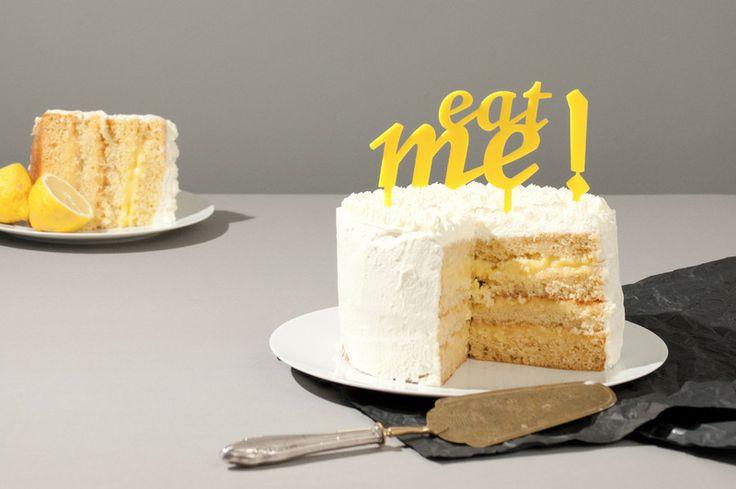 Cake Topper, Hochzeitstorte, Eat Me !, gelb von Lucky You auf DaWanda ...