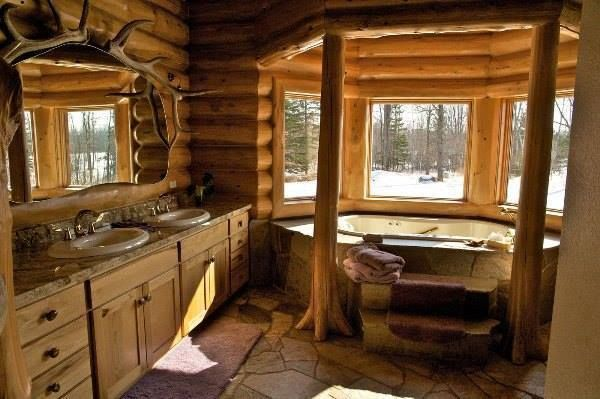 Log Cabin Bathroom Cabins And Homes Pinterest